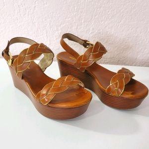 Michael Kors Braided Leather Stacked Sandal EU 36